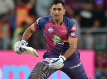 Rising Pune Supergiants' MS Dhonii in action during the IPL match against Sunrisers Hyderabad in Pune