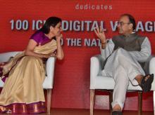 Minister of Finance Arun Jaitley and Chanda Kochhar, MD & CEO, ICICI Bank at the Inauguration of '100 ICICI Digital Villages'. Photo: Sanjay K Sharma