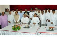 File photo of Odisha Governor S C Jamir and Chief Minister Naveen Patnaik with new cabinet ministers after the swearing-in ceremony at Raj Bhawan in Bhubaneswar (Photo: PTI)