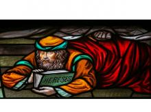 Stained glass window depicting a heretic in the Cathedral of Saint Rumbold in Mechelen, Belgium (Image: Shutterstock)