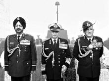 From left: Chief of Air Staff Air Chief Marshal Birender Singh Dhanoa, Chief of Naval Staff Admiral Sunil Lanba and Chief of Army Staff General Bipin Rawat. Integration of the three Services does not seem feasible for now