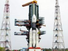 Frontal view of the fully integrated GSLV-Mk III-D1 carrying GSAT-19 at the second launch pad. Photo: Isro