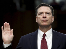 Former FBI director James Comey is sworn in before the Senate Select Committee on Intelligence on Capitol Hill in Washington. (Photo: AP/PTI)