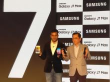 (R) Ken Kang, MD and Head, Mobile Business, Samsung India and Sumit Walia, Director Mobile Business, Samsung to launch the Samsung  Galaxy J7 Pro and Galaxy J7 Max smartphones during a press conference in New Delhi on Wednesday