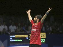Kidambi Srikanth reacts after defeating South Korea's Son Wan-ho during their men's singles semi final match at Indonesia Open badminton championship in Jakarta, Indonesia. File photo: PTI