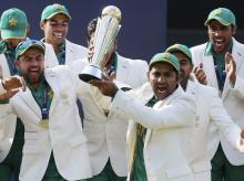 File photo: Pakistan's captain Sarfraz Ahmed, front, celebrates with teammates winning the ICC Champions Trophy 2017 at The Oval in London.