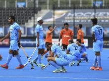 India's players show their dejection after their game against Malaysia in the Men's World Hockey League tournament at Lee Valley Hockey Centre, London. File photo: AP/PTI