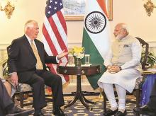 US Secretary of State Rex Tillerson calls on Prime Minister Narendra Modi in Washington DC on Monday. Photo: PIB