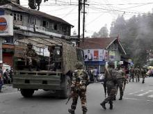 Security forces marching on the streets of Darjeeling