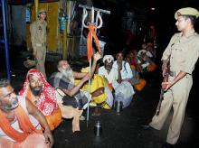 File photo. Security personnel keeping a vigil as sadhus gather to head towards Kashmir to pay obeisance at the Amarnath shrine cave, days after militant attack on pilgrims in Anantnag, in Jammu on Wednesday.  Photo: PTI