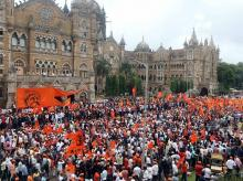 Maratha community people during a silent protest in Mumbai on Wednesday, to demand reservation in government jobs and educational institutions. Photo: Kamlesh Pednekar