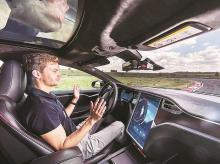 A Tesla Model S car fitted with self-driving technology Photo: Bloomberg