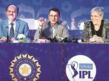 (From L to R) BCCI President C K Khanna with Star India Chairman & CEO Uday Shankar and Member of Committee of Administrators (BCCI) Diana Edulji at the auction for IPL media rights in Mumbai on Monday. (File photo: PTI)
