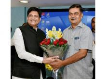 The Union Minister for Railways and Coal, Piyush Goyal greets the New Minister of State (Independent charge) for Power and New and Renewable Energy R K Singh, in New Delhi on Tuesday. Photo: PTI