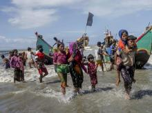 Rohingya Muslims walk to the shore after arriving on a boat from Myanmar to Bangladesh in Shah Porir Dwip. Photo: AP | PTI