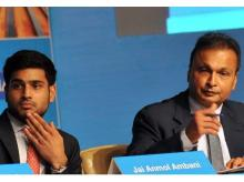 Reliance Group Chairman Anil Ambani with his son Anmol addresses the Annual General Meeting of Reliance Capital in Mumbai on Tuesday. (Photo: Kamlesh Pednekar)