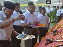 Shastra pooja by RSS Chief Mohan Bhagwat during Dusshera festivities