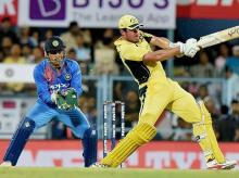 Australian player Moises Henriques plays a shot during their second T20 cricket match against India, in Guwahati. File Photo: PTI