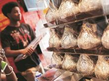 Giant Hershey's Kiss chocolates are seen on display in a shop in New York City, US, on July 20. Photo: Reuters