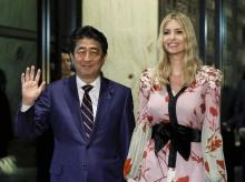 Ivanka Trump, advisor to US President Donald Trump, and Japanese Prime Minister Shinzo Abe arrive for a dinner at a restaurant in Tokyo. (Photo: AP/PTI)