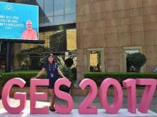 A delegate poses for a photo at the venue of the Global Entrepreneurship Summit 2017 in Hyderabad. (Photo: PTI)