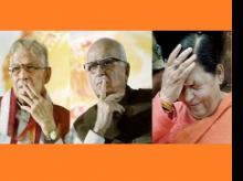 File photo of BJP leaders L K Advani, Murli Manohar Joshi and Uma Bharti