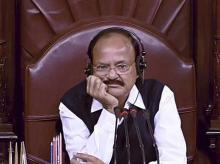 Vice President M Venkaiah Naidu in the Rajya Sabha in New Delhi