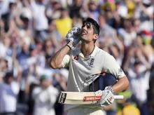 England's Alastair Cook celebrates making 100 runs against Australia during the second day of their Ashes cricket test match in Melbourne. File Photo: AP/PTI