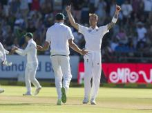 South African bowler Dale Steyn celebrates the wicket of Indian batsman Shikhar Dhawan on the first day of the first test between South Africa and India at Newlands Stadium, in Cape Town. File Photo: AP | PTI