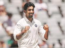 Jasprit Bumrah during the first Test against South Africa in Cape Town. Photo: Reuters