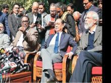 (From left) Justices Kurian Joseph, Jasti Chelameswar, Ranjan Gogoi, and Madan Lokur address the media in New Delhi on Friday. Photo: Reuters