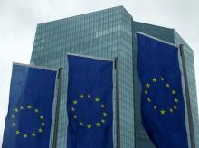 European Union flags flutter outside the European Central Bank (ECB) headquarters in Frankfurt, Germany. Photo: Reuters