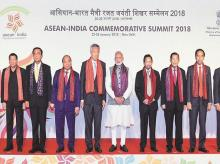 Prime Minister Narendra Modi  (centre) with the heads of state of 10 countries of Asean