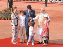 Prime Minister Narendra Modi with Canadian PM Justin Trudeau, First Lady Sophie Gregoire Trudeau, daughter Ella-Grace Margaret and sons Xavier James and Hadrien  at Rashtrapati Bhawan in New Delhi on Friday. Photo: Dalip Kumar.