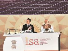 Prime Minister Narendra Modi with French President Emmanuel Macron (left) at the International Solar Alliance founding conference in New Delhi on Sunday. Photo: PTI