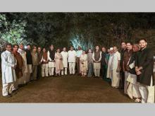 United Progressive Alliance (UPA) Chairperson Sonia Gandh with Opposition party leaders pose for a group photograph at a dinner hosted  at her residence 10, Janpath in New Delhi. Photo: PTI