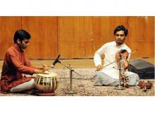 Young artistes performing as part of the Baithak series