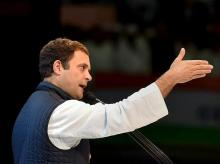 Congress President Rahul Gandhi speaks during the second day of the 84th Plenary Session of Indian National Congress (INC), at the Indira Gandhi stadium in New Delhi on Sunday
