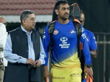 Chennai Super Kings (CSK) skipper MS Dhoni with  former BCCI President and Managing Director of India Cements N Srinivasan during the practice session of IPL T20-2018 tournament at MAC Stadium in Chennai. File Photo: PTI