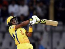 Chennai Super Kings' batsman Dwayne Bravo plays a shot during the IPL 2018 opening cricket match against Mumbai Indians' at Wankhede Stadium in Mumbai on Saturday. File photo: PTI