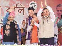 Amit Shah, Biplab Kumar Deb, Himanta Biswa Sarma