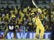 Chennai Super Kings (CSK) batsman Ambati Rayudu plays a shot during the IPL 2018 cricket match against KKR at MAC Stadium in Chennai. Photo: PTI