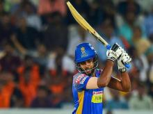 Rajasthan Royals player Sanju Samson plays a shot against Sunrisers Hyderabad during Indian Premier League 2018 match at Rajiv Gandhi International Stadium in Hyderabad. File PTI