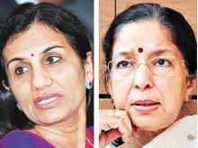 ICICI Bank CEO Chanda Kochhar (left), Axis Bank CEO Shikha Sharma
