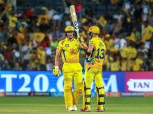 Chennai Super Kings' Shane Watson celebrates after scoring half-century in a match against Delhi Daredevils during IPL 2018 in Pune on Monday. Photo: PTI