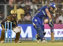 Mumbai Indians' Ishan Kishan plays a shot against Kolkata Knight Riders during an IPL T20 cricket match at Eden Garden. Photo: PTI