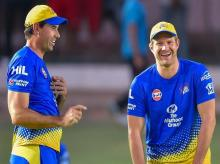 Chennai Super Kings player Shane Watson (R) shares a light moment with coach Stephen Fleming during a practice session ahead of their IPL T20 match against Rajasthan Royals in Jaipur. Photo: PTI