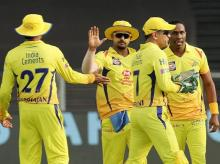 Dwayne Bravo of Chennai Super Kings celebrates the wicket of Shikhar Dhawan of Sunrisers Hyderabad during their IPL T20 cricket match in Pune. File Photo: PTI