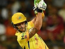 Chennai Super Kings'  Faf Du Plesisi plays a shot against Sunrisers Hydrabad during the 1st IPL 2018 qualifier cricket match, in Mumbai, on Tuesday.