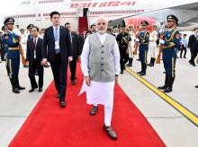 Prime Minister Narendra Modi arrives in China's Qingdao for the SCO Summit